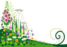 лето силуэта зеленого цвета травы предпосылки иллюстрация вектора