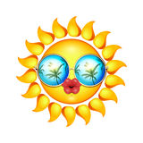 Лето Солнце смотрит на с солнечными очками и полными губами иллюстрация вектора