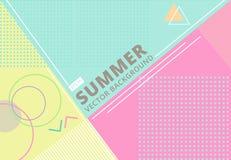 Лето с ретро пастельным цветом, картиной и geomet текстуры стиля иллюстрация вектора
