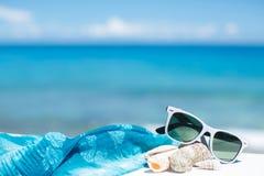 Лето с солнечными очками и seashells на песке Стоковая Фотография