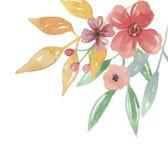Лето цветка акварели выходит расположение покрашенное рукой угловое Стоковое Фото
