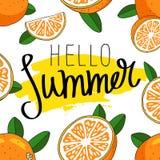 Лето цитаты здравствуйте! Модная каллиграфия Стоковые Изображения RF