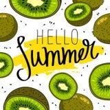 Лето цитаты здравствуйте! Модная каллиграфия Стоковые Изображения
