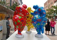 лето 2008 скульптур города Пекин олимпийское Стоковая Фотография RF