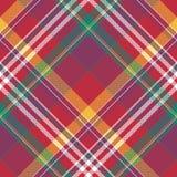 Лето madras текстуры ткани раскосной красной шотландки проверки безшовное Стоковые Фото