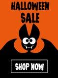 Летучая мышь продажи хеллоуина на оранжевой предпосылке Стоковое Изображение RF