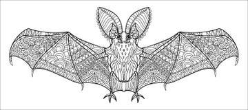 Летучая мышь Zentangle стилизованная Стоковое фото RF