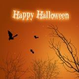 Летучие мыши и деревья хеллоуина Стоковые Фото