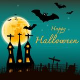Летучие мыши и замок хеллоуина на предпосылке fullmoon Стоковое Изображение RF