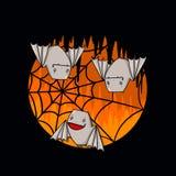 Летучие мыши и иллюстрация сети паука Стоковые Изображения