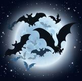 Летучие мыши и предпосылка хеллоуина полнолуния Стоковое Изображение RF