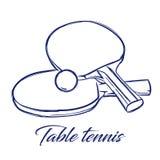 Летучие мыши и шарик настольного тенниса иллюстрация штока