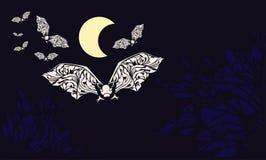 Летучие мыши летают вне вечером иллюстрация вектора
