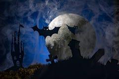 Летучие мыши на фоне луны, хеллоуина Стоковое Изображение RF