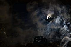 Летучие мыши на фоне луны, хеллоуина Стоковые Фото