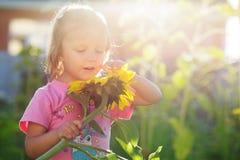 Леты девушки солнцецвета Стоковое Фото