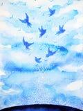 Летящие птицы освобождают, ослабляют разум с открытым небом, абстрактной картиной акварели иллюстрация штока