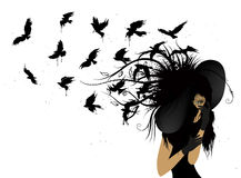 Летящие птицы от головы женщины в черноте Стоковое Изображение RF
