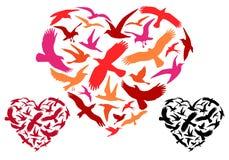 Летящие птицы сердце, вектор Стоковое Изображение RF