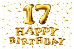 17 лет годовщины, с днем рождения торжества утехи иллюстрация 3d с гениальными воздушными шарами золота & confetti наслаждения дл Стоковые Фото
