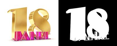 18 лет 18 лет дизайна торжества Элементы шаблона номера годовщины золотые для вашей вечеринки по случаю дня рождения Translat Стоковое Изображение RF