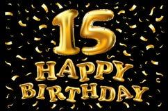 15 лет торжества годовщины с лентой золота Предпосылка и confetti занавеса Стоковое Изображение