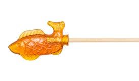 Леденец на палочке сахара сделанный в форме рыб Стоковые Изображения