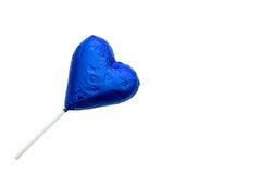 Леденец на палочке шоколада в форме сердц Стоковое Изображение