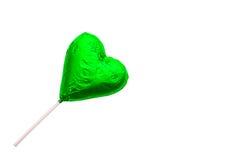 Леденец на палочке шоколада в форме сердц Стоковая Фотография