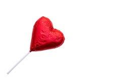Леденец на палочке шоколада в форме сердц Стоковые Изображения RF
