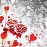 Леденцы на палочке и сердца Стоковое Фото