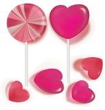 Леденцы на палочке и сердце конфеты сформированное на белизне иллюстрация штока
