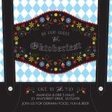 Ледерхозены Oktoberfest приглашают шаблон с цветками Baverian и немецкой предпосылкой флага Стоковое Изображение