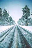 Ледистая дорога зимы Стоковое фото RF