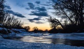 Ледистый заход солнца Колорадо Стоковые Фотографии RF