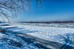 Лед на Дунае Стоковое Изображение