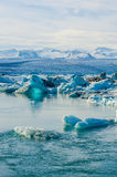 Ледниковая лагуна льда реки на Jokulsarlon Исландии Стоковые Изображения