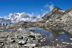 Ледниковое озеро защищенное Monterosa Стоковое Изображение