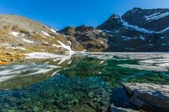 Ледниковое озеро na górze горы Стоковое Изображение RF