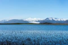 Ледник Flaajokull один из много языков ледника пропуская на юг Стоковые Фотографии RF