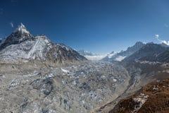 Ледник Ngozumpa в национальном парке Sagarmatha Стоковое Фото