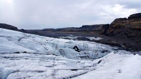 Ледник Solheimajokull около Skaftafell в Исландии Стоковое Фото