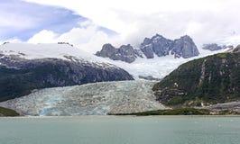 Ледник Tidewater и драматические пики стоковое фото rf