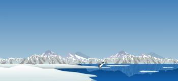Ледовитая зона с пингвином Стоковое Изображение