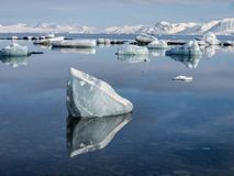 Ледовитый ландшафт - лед, море, горы, ледники - Шпицберген, Свальбард Стоковое Изображение RF