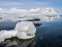 Ледовитый ландшафт - лед, море, горы, ледники - Шпицберген, Свальбард Стоковые Фотографии RF
