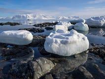 Ледовитый ландшафт - лед, море, горы, ледники - Шпицберген, Свальбард Стоковая Фотография RF