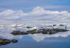 Ледовитый ландшафт - лед, море, горы, ледники - Шпицберген, Свальбард Стоковое Изображение