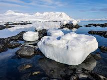 Ледовитый ландшафт - лед, море, горы, ледники - Шпицберген, Свальбард Стоковое Фото