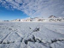 Ледовитый ландшафт ледника - Свальбард Стоковые Фото